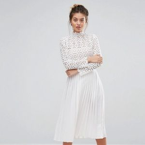 ASOS little mistress lace pleated midi dress